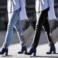 Women's Casual Denim Skinny Pants High Waist Stretch Jeans Slim Pencil Trousers