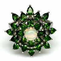 TOP OPAL & DIOPSIDE RING : Natürliche Edel Opal und Diopsid Ring Gr. 17,7 Silber