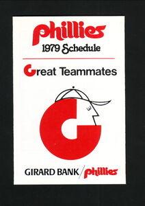 Philadelphia Phillies--1979 Pocket Schedule--Girard Bank