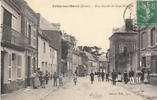Carte postale ancienne CRECY-SUR-SERRE rue amiral de saint-hilaire timbrée 1914