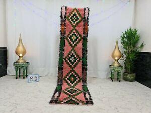 """Vintage Moroccan Handmade Runner Rug 2'3""""x9'4"""" Geometric Berber Pink Green Rug"""
