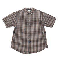 Lee Dungarees Shirt Mens Size L Large  Orange Green Plaid Short Sleeve Button Up