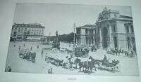 1904 Antique Print ZURICH Switzerland City Street Hotel Habis Horse & Buggies