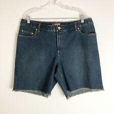 Faded Glory Women's Jean Shorts Stretch High-rise Frayed Hem Denim Size 16W