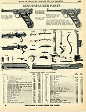 1963 Print Ad of Genuine Luger Parts New Model 9mm & Old Model 7.65mm Parts List