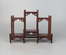 bonsai display stand red hard wood Chinese rosewood carved put small curio shelf