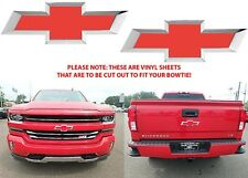 Colormatched Red Hot Vinyl Bowtie Overlays For 2016-2018 Silverado New Free Ship