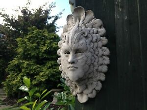 NEW Feather Face Greenman garden stone wall hanging ornaments,plaques sculpture