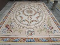 Old Hand Made French Design Wool Beige Grey Original Large Aubusson 437X303cm