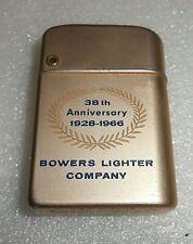 Vintage Bowers Lighter Company 38th Anniversary Complimentary Lighter Kalamazoo