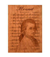 Mozart - Classical composer Engraved in All Natural Wood CHERRY