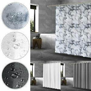 Anti-Bacterial Mould & Mildew Proof Water Resistant Shower Curtains White Grey
