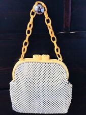 Vintage Whiting & Davis Carved Bakelite Alumesh Purse Handbag Ivory Collectible