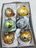 Vintage 6 Christmas Ornaments Glass with Scenes Shrink Wrap~2 stencil balls