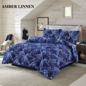 Jaxon Navy Print Cover Polycotton Duvet Quilt Sets With Pillow cases In All Size