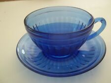 Aurora Cobalt Cup and Saucer Set Depression Hazel Atlas 1930's