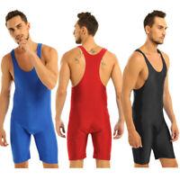 Mens One-piece Singlet Bodysuit Boxer Briefs Sports Fitness Gym Tight Underwear