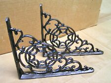 2 Cast Iron Brackets Wall Shelf corbels braces, oil rubbed bronze, black