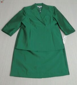 Sharagano Suits Womens 2 Piece Evergreen Skirt Suit Lined Silk Blend Size 14 NEW