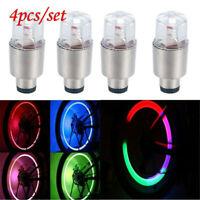 4PCS/Set Motorcycle Bike LED Flashing Neon Wheel Tire Tyre Valve Dust Cap Lights