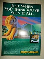 RARE Las Vegas MGM Grand Lion Hotel Casino Theme Park Magazine Print Ad travel