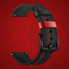 24mm Black/Red Premium Racing Watch Strap (with Buckle) - 24 mm Lug Width