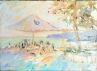 tableau huile /toile  - La terrasse - signé  SHEVCHUK Alexander