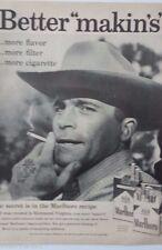 1959 Marlboro Cigarettes Cowboy Hat Anchor Bird Tattoo Smoking Original Ad
