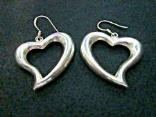 Vintage jewellery sterling silver earrings large hearts