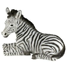"""Laying Baby Zebra Figurine Statue 6"""" Long Detailed Polystone New In Box"""