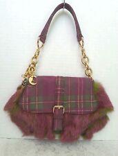 BCBGirls Colored Faux Fur Small Shoulder Bag Handbag Purse Fuchsia and Green