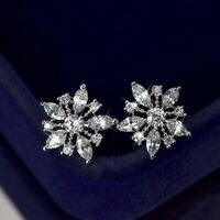 18k white gold filled made with SWAROVSKI crystal flower snowflake stud earrings