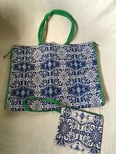 Jumbo Linen Shopping Tote,Blue/White w/Green Trim+Zip Cosmetic Tote md in India