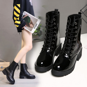 Women Patent Leather Mid-Calf Boot Chunky High Heel Platform Casual Shoes Velvet