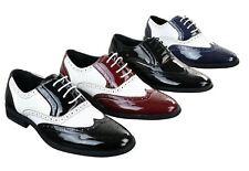 Chaussures homme cuir PU verni brillant brogues Gatsby 1920 noir rouge blanc