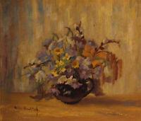 Hedda HAWLITZEK (1945-1974) kleines Ölgemälde Blumen