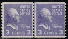 #842 1939 Mnh 3-cent Thomas Jefferson joint line pair