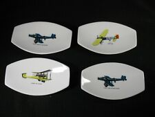 4 small oval nut dishes or trinket tray with pictures of vintage planes
