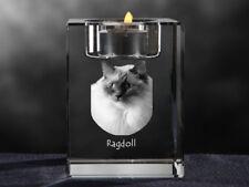Ragdoll, crystal candlestick with cat, souvenir, Crystal Animals CA