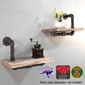 2Pcs Rustic Industrial DIY Pipe Shelf Vintage Floating Shelves Wall Shelving Set