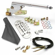 Floor Mnt E-Brake HandleGray Boot, Chr Ring, Cable Kit, GM Clevis muscle rat