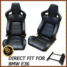 BB6 BMW E36 + M3 Reclining Tilting Bucket Sports Seats Black Pair