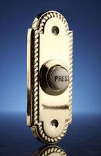 Byron 2222bs cablato Flush Montaggio a pulsante PORTA CAMPANA IN OTTONE 85x35mm NUOVISSIMI