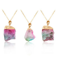 Gold Plated Natural Crystal Chakra Rock Necklace Quartz Pendant Colorful Stone d