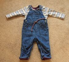 Baby Boys Matalan Dungaree Set 6-9 Months Denim Cute Good Condition !