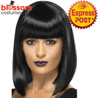 W477  R'n'B Star Costume Wig Jessie J Celebrity Black Short Blunt Cut Bob Fringe