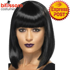 W477  R'n'B Star Costume Wig Jessie J Celebrity Black Short Blunt Cut Bob Fringe