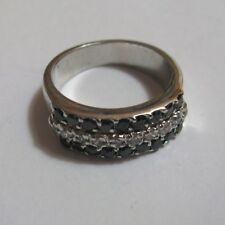 Zirconia Ring 6.9g Size R Sterling Silver Black and Clear Cubic