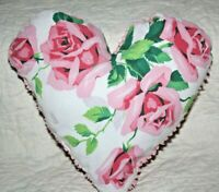 Heart Pillow Made From Vintage Wilendur Pink Royal Roses Farmhouse Tablecloth
