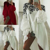 Women Floral Long Puff Sleeve Tops Shirt Ladies High Low Loose Asymmetric Blouse
